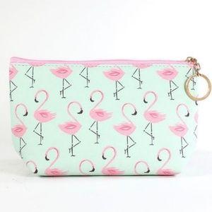 Handbags - Mint Flamingo Print Cosmetic Bag